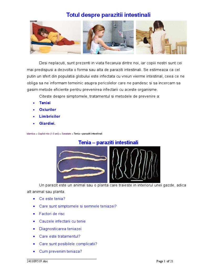Diagnosticul simptomelor parazitului