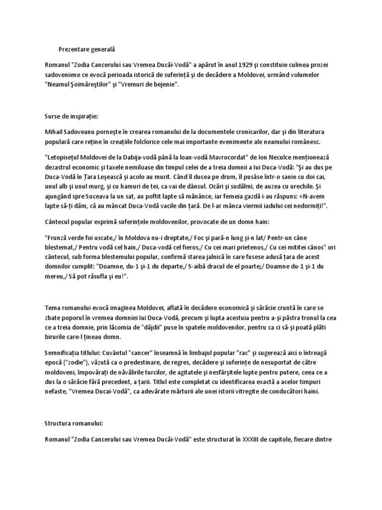 zodia cancerului mihail sadoveanu rezumat)